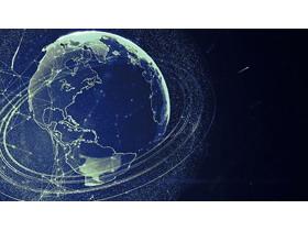 蓝色颗粒质感的地球商务PPT背景图片