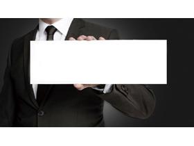 手拿白色文本框的白领PPT背景图片
