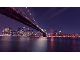 跨海大桥城市夜景PPT背景图片