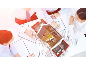 建筑图纸房屋模型PPT背景图片