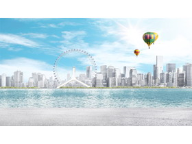 城市摩天轮热气球PPT背景图片