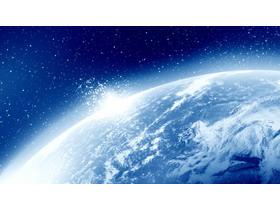 唯美蓝色星球PPT背景图片