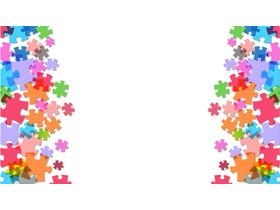 三张彩色拼图幻灯片背景图片
