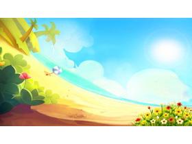 卡通海滩花丛PPT背景图片