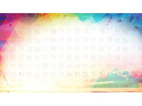 彩色晕染福字PPT背景图片