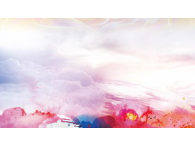 彩色��染云彩PPT背景�D片