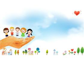三张可爱卡通手绘PPT背景图片