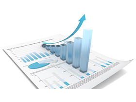 蓝色清新数据报表PPT背景图片