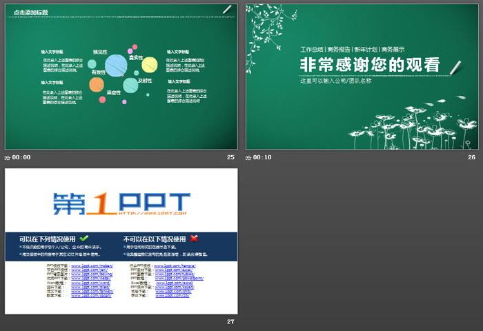 简洁粉笔手绘风格工作总结汇报PPT模板