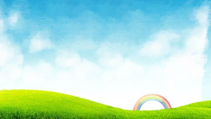 蓝天白云草地彩虹ppt背景图片图片