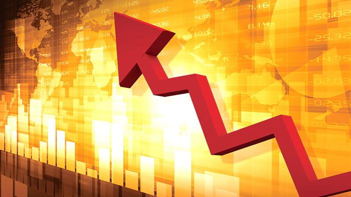 金融数据分析红色箭头ppt背景图片图片