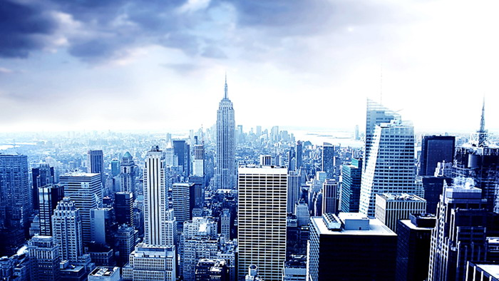 藍色大氣歐美建筑ppt背景圖片