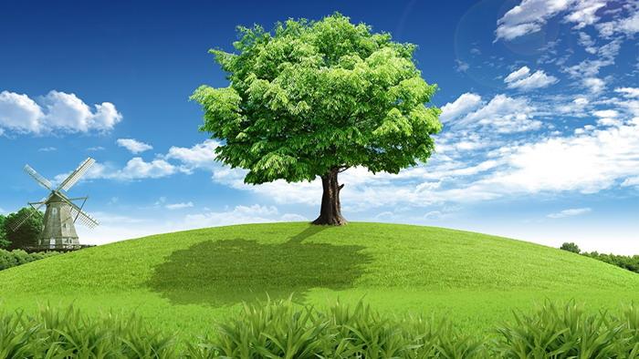 蓝天白云草地背景的自然风光ppt背景图片图片