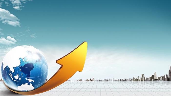 地球箭头商务幻灯片背景图片