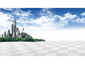 蓝天?#33258;?#22478;市建筑PPT背景图片