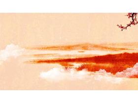 红色水墨古典PPT背景图片