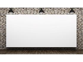 射灯下的演示白板PPT背景图片