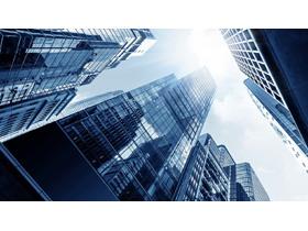 蓝色商业app自助领取彩金38高楼大厦PPT背景图片