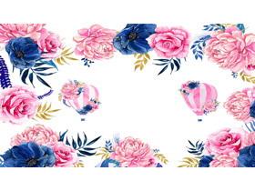 蓝粉搭配的艺术花卉PPT背景图片