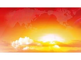 日出白云世界地图点阵图PPT背景图片