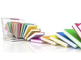 笔记本电脑与书籍PPT背景图片