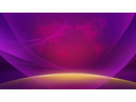 紫色光影世界地图点阵图PPT背景图片