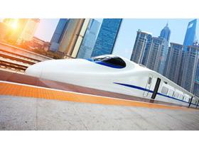 高速行驶的高铁动车PPT背景图片