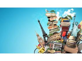 世界著名旅游景点拼图PPT背景图片