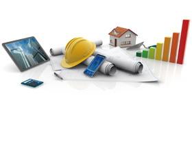 安全帽建筑图纸PPT背景图片