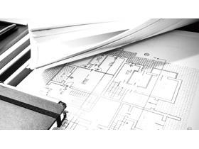 黑白建筑图纸PPT背景图片