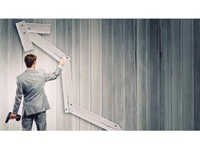 商务人物木板箭头PPT背景图片