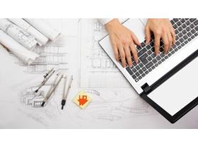 建筑图纸笔记本电脑PPT背景图片