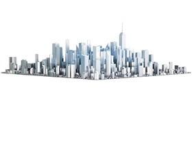 立体城市建筑模型PPT背景图片