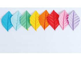 彩色折纸叶子PPT背景图片