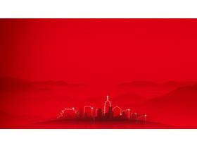 两张红色简洁建筑剪影必发88背景图片