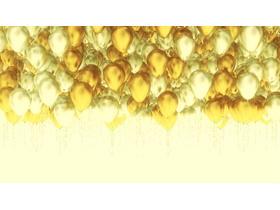 三张金色气球幻灯片背景图片