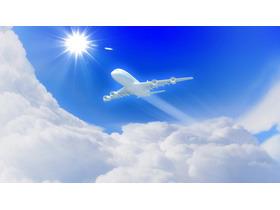 唯美蓝天白云飞机PPT背景图片