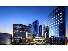 蓝色精致商务app自助领取彩金38写字楼PPT背景图片