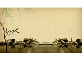 古典风格的竹子水池石子PPT背景图片
