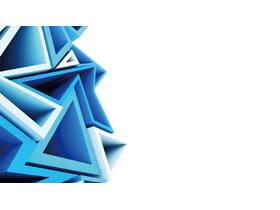 蓝色立体三角形多边形PPT背景图片