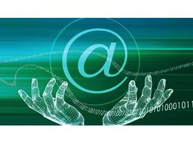 绿色虚拟手势互联网PPT背景图片