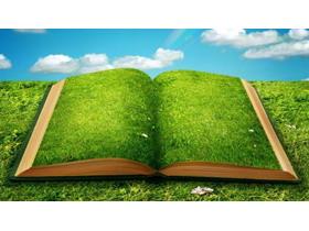 绿色植物覆盖的书籍PPT背景图片