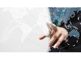 手势世界地图PPT背景图片