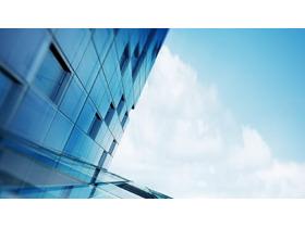 蓝天白云下的写字楼PPT背景图片
