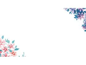 清新水彩手绘花卉PPT背景图片