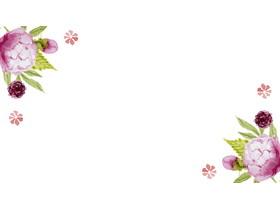 清新水彩花卉PPT背景图片