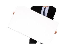 手拿白板的商务人物幻灯片背景图片