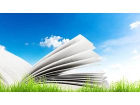 蓝天白云下的书籍PPT背景图片