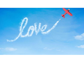 卡通飞机拉线PPT背景图片