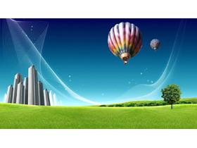 草地热气球PPT背景图片